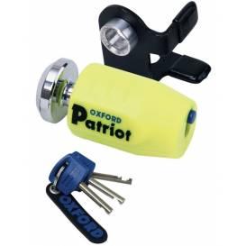 Zámek kotoučové brzdy Patriot, OXFORD - Anglie (verze s prodlouženým čepem, průměr čepu 14mm, žlutý)