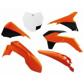 Sada plastů KTM, RTECH - Itálie (oranžová-bílá, 6 dílů)