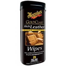 MEGUIARS Gold Class Rich Leather Cleaner Wipes - ubrousky k vyčištění a ošetření kůže 25 ks