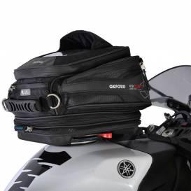 Tankbag na motocykl Q15R QR, OXFORD - Anglie (černý, s rychloupínacím systémem na víčka nádrže, objem 15 l)
