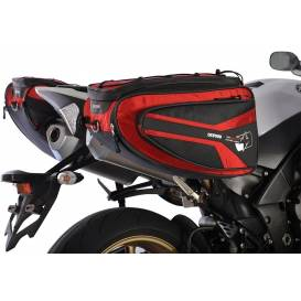 Side bags for motorcycle P50R, OXFORD - England (black / red, volume 50 l, pair)