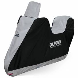 Tarpaulin for motorcycle Aquatex Highscreen Scooter design for high plexiglass, OXFORD - England (black / silver, uni size)