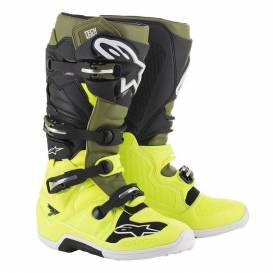 Shoes TECH 7 2021, ALPINESTARS (yellow fluo / military green / black)