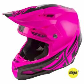Helmet F2 Carbon SHIELD, FLY RACING (black / pink, with MIPS protection system)