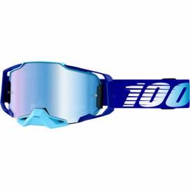Brýle ARMEGA Royal, 100% - USA (modré chromované plexi s čepy pro slídy)