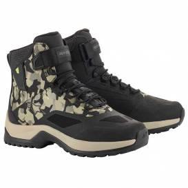 Topánky CR-6 DRYSTAR, ALPINESTARS (čierna / zelená maskáčová / béžová)