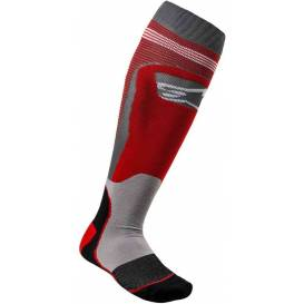 Ponožky MX PLUS-1 2021, ALPINESTARS (červená / sivá)