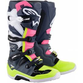 Shoes TECH 7 2021, ALPINESTARS (black / blue / pink / yellow fluo)