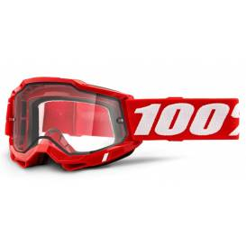 ACCURI 2 100% - USA, Enduro Moto glasses red - clear Dual plexiglass