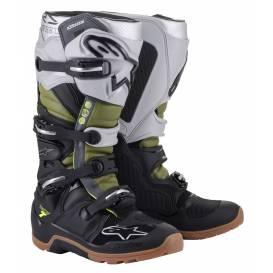Topánky TECH 7 ENDURO 2022, ALPINESTARS (čierna / strieborná / military zelená)