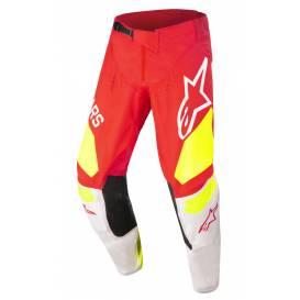 Kalhoty TECHSTAR FACTORY 2022, ALPINESTARS (červená fluo/bílá/žlutá)
