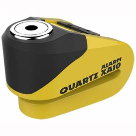 Disc brake lock Quartz Alarm XA10, OXFORD - England (integrated alarm, yellow / black, pin diameter 10 mm)