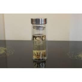 Termo fľaša na čaj z dvojitého skla
