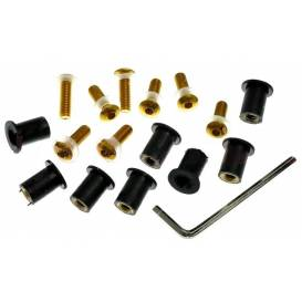 Hexagon sockets for plexiglass incl. nuts M5 in rubber housing and washers, OXFORD - England (gold anodized)