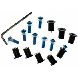 Hexagon sockets for plexiglass incl. nuts M5 in rubber housing and washers, OXFORD - England (blue anodized)