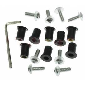 Hexagon sockets for plexiglass incl. nuts M5 in rubber housing and washers, OXFORD - England (silver anodized)