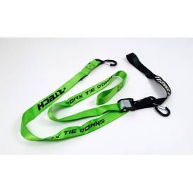 Clamping straps with quick-release coupling (width 38 mm / length 2 m / load capacity 550 kg), RTECH (1 pair, green)