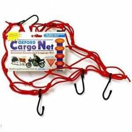 Flexible luggage net for motorcycles, OXFORD - England (30x30 cm, red)