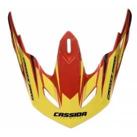 Kšilt pro přilby Cross Pro, CASSIDA - ČR (červená/žlutá fluo/černá, seriová délka kšiltu)